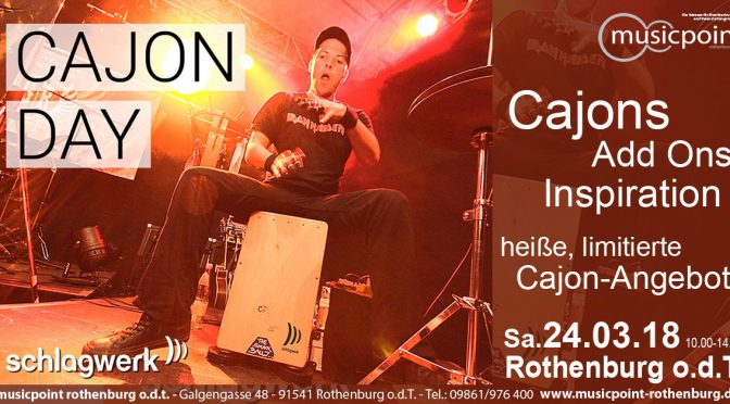 SCHLAGWERK CAJON DAY Sa.24.03.18 10:00-14:00! BEAT IT!