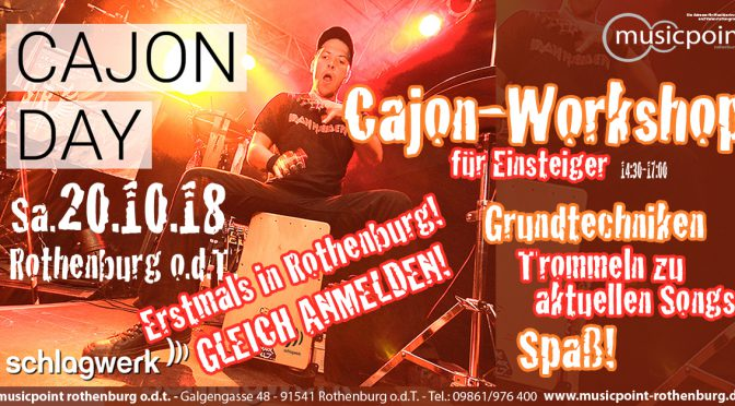 NEU! CAJON-Workshop am Sa 20.10.18 14:30-17:00 im Musicpoint Rothenburg!